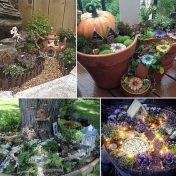 Jardins de fada steampunk, com abóbora, uma vila de fadas e um jardim iluminado