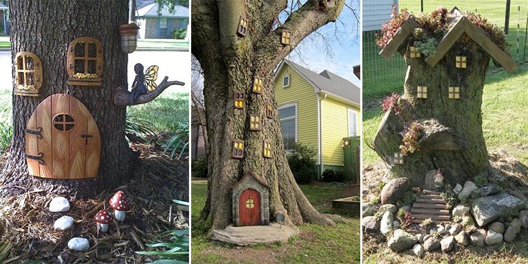 Casinhas de fadas feitas em troncos de árvore