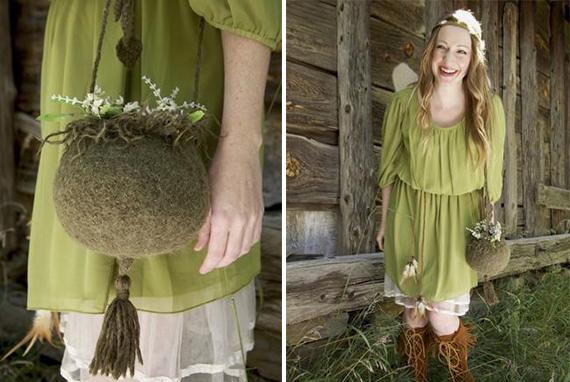 Bolsa de tricô feérico inspirado em um vaso de plantas. Perfeito para o seu guarda-roupa de fadas!