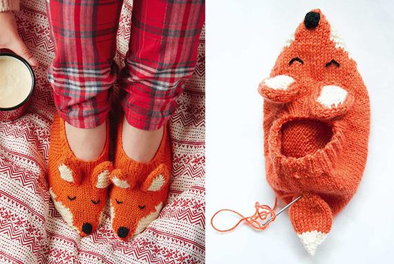 Pantufa de tricô feérica inspirada em raposas. Perfeita para o seu guarda-roupa de fadas!